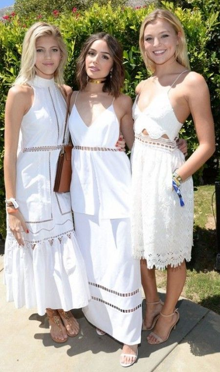 PALM SPRINGS, CA - APRIL 16:  (L-R) Model Devon Windsor, actress Olivia Culpo and model Rachel Hilbert attend POPSUGAR and the Council of Fashion Designers of America  (CFDA) brunch with designer Jonathan Simkhai at the Cabana Club on April 16, 2016 in Palm Springs, California.  (Photo by Michael Kovac/Getty Images for POPSUGAR)