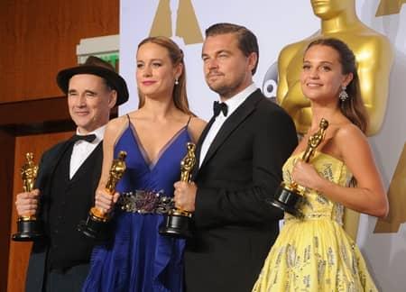 アカデミー賞 2016 マーク・ライランス レオナルド・ディカプリオ ブリー・ラーソン アリシア・ヴィキャンデル Oscar
