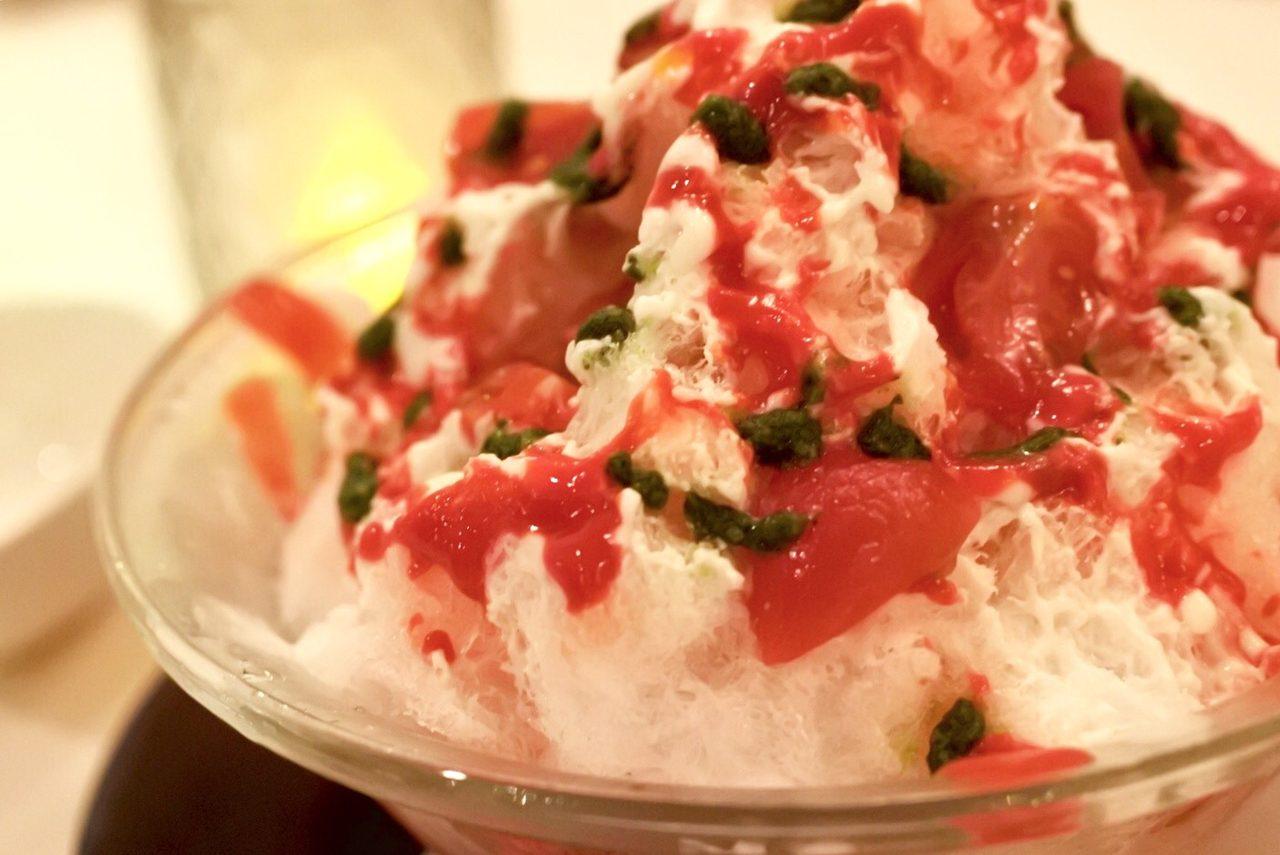 画像: トマトバジル氷 ・トマトのシロップ漬け・自家製トマトシロップ・自家製マスカルポーネシロップ・自家製バジルペースト