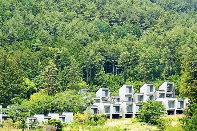 画像: 河口湖と富士山を望む斜面に佇むキャビン。その後方、森の中にキャンプライフを楽しめるテラスフィールドやメインダイニング、フロントのゲストハウス棟が潜んでいる