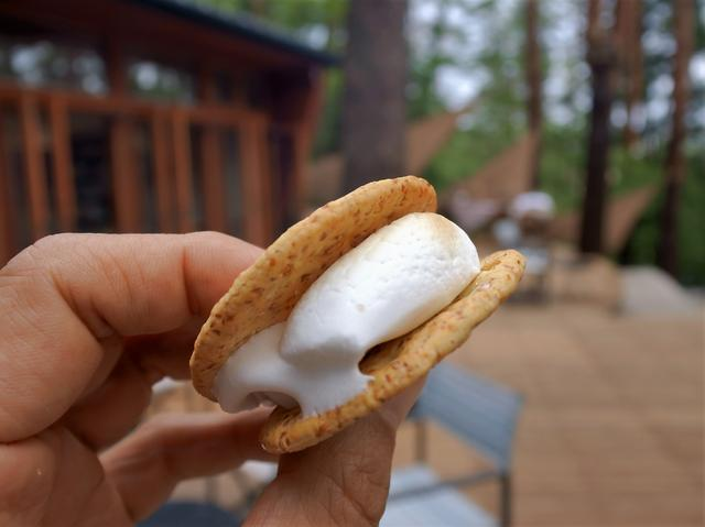 画像: 焼き上がり、とろとろになったマシュマロを、グラハムクッキーに挟んで焼きマシュマロサンド「スモア」! こんなに美味しいものだったかなあ!?と思う程に美味w