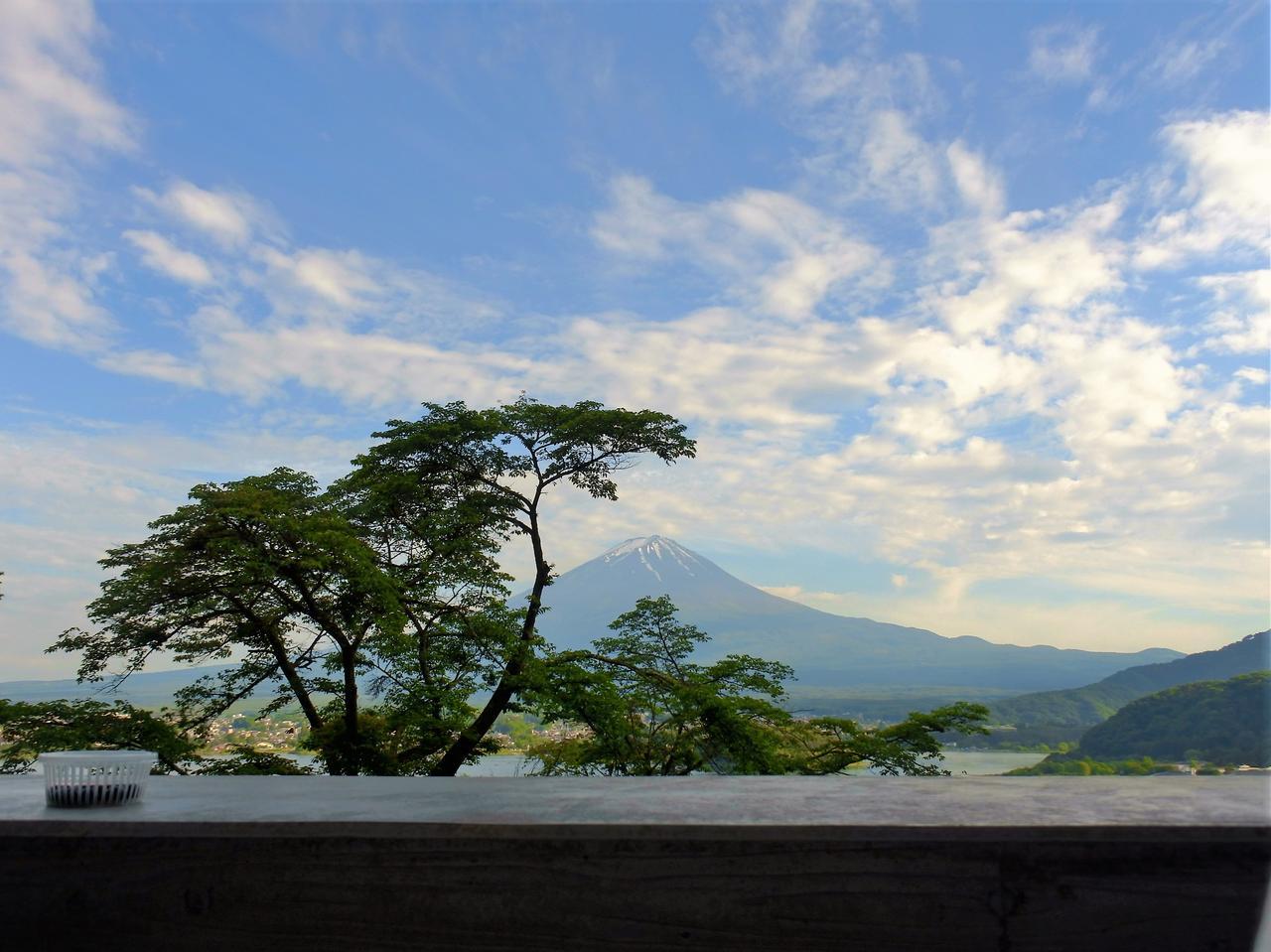 画像: キャビンのテラスリビングのソファから、富士山と河口湖が目前に迫って来る(ちなみに手前の木は桜。シーズンには桜と富士と河口湖が目前に望める、スペシャルビューだ)