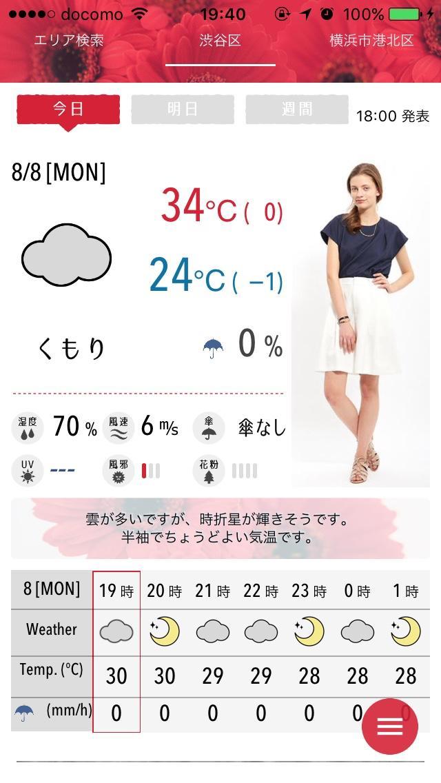 画像1: 今日のコーディネートと天気をお知らせ!男性も利用可能です。