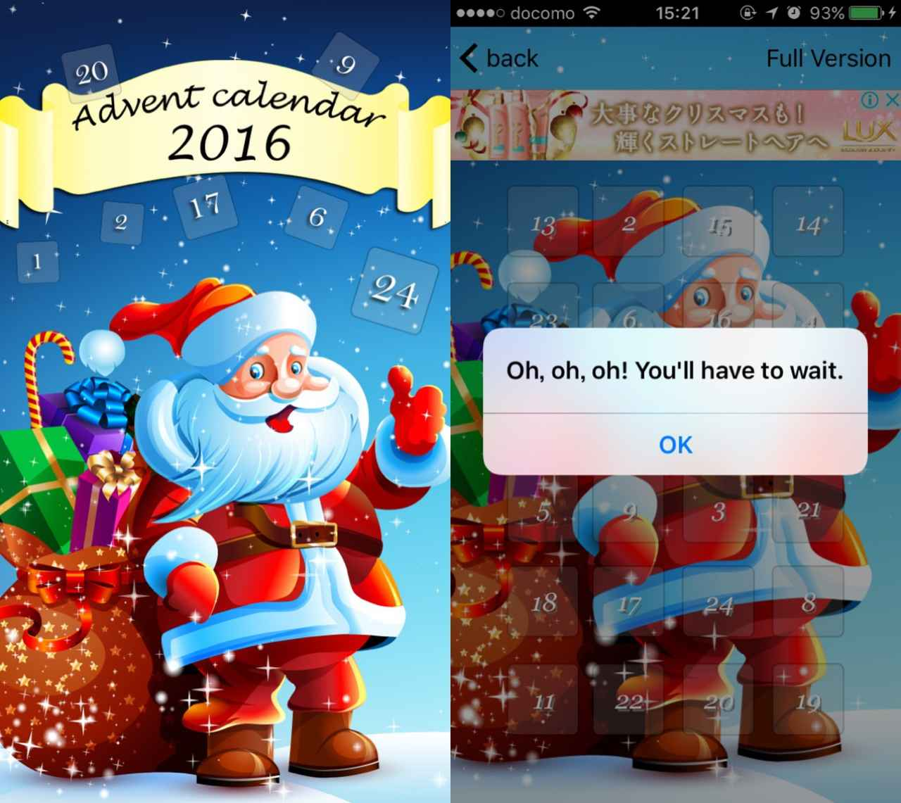 画像: サンタクロースとカウントダウン!スタンダードなアドベントカレンダー。