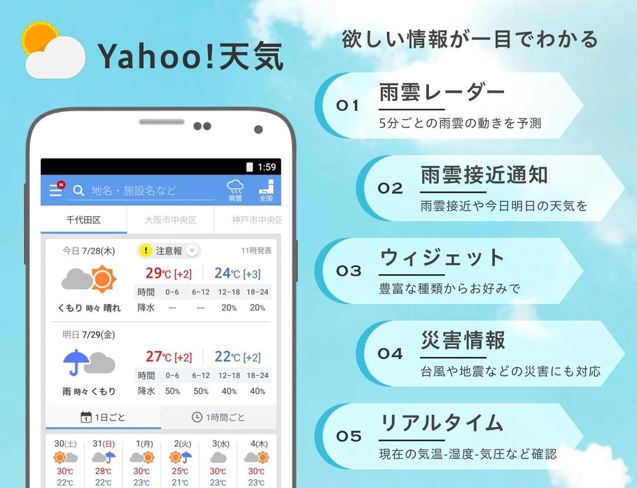 画像: Yahoo!天気 - 雨雲の接近や台風の進路がわかる気象予報レーダー搭載アプリ - Google Play の Android アプリ