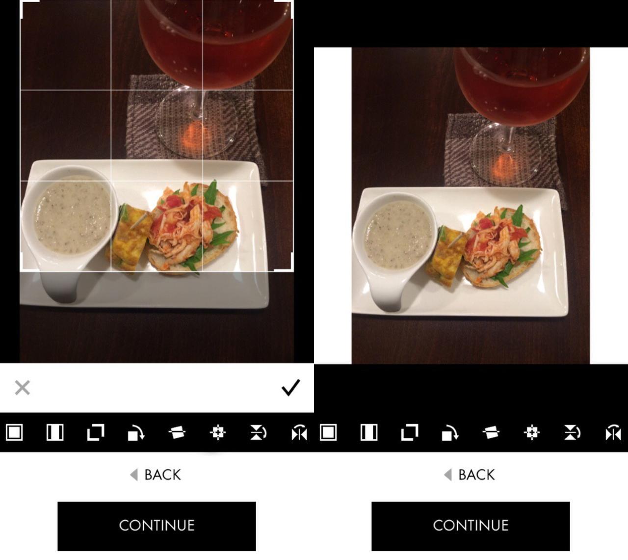 画像: 読み込みでトリミングだけでなく余白をつける正方形加工にも対応。
