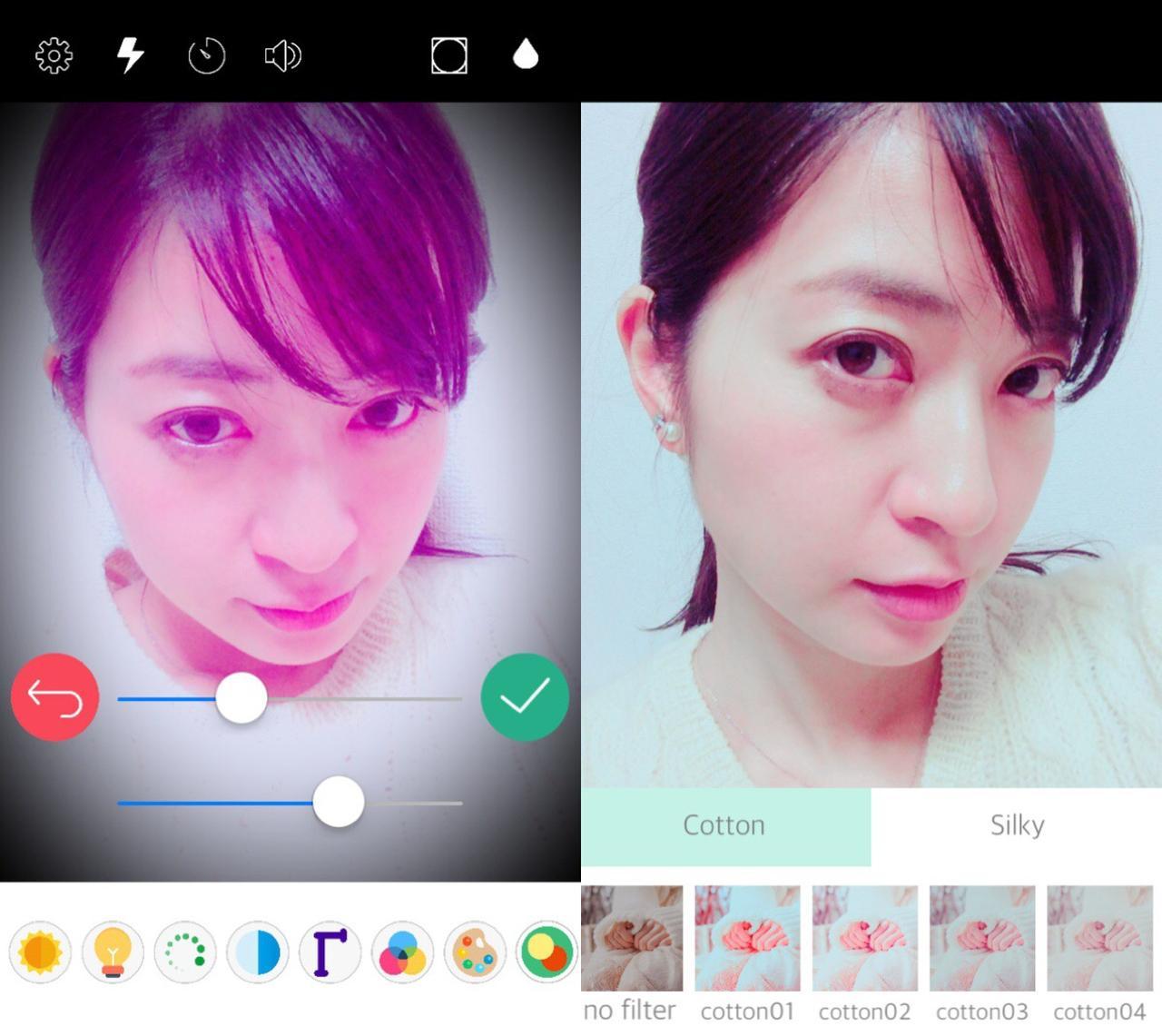 画像: アプリのカメラで加工した状態で写真が撮れる!