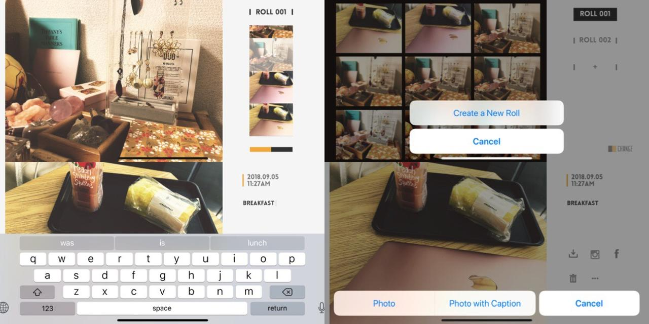 画像1: 撮った写真はフィルムロールごとに管理可能。短いキャプションもつけられます。