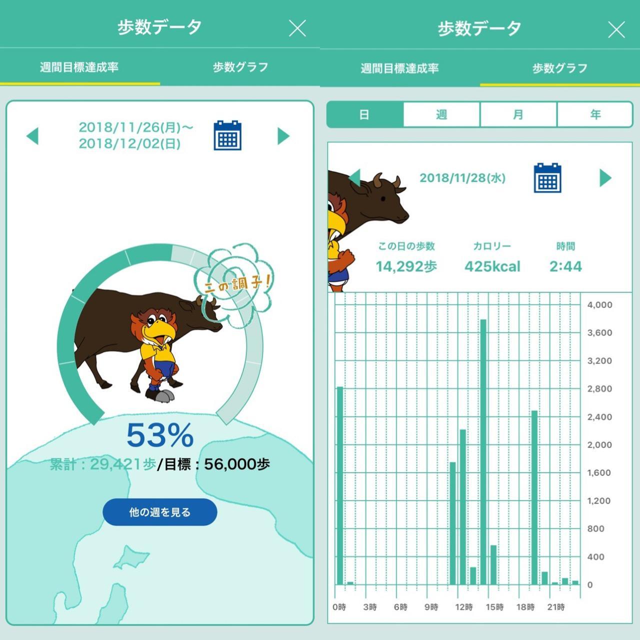 画像: 目標達成率やグラフで歩いた量をわかりやすく可視化!