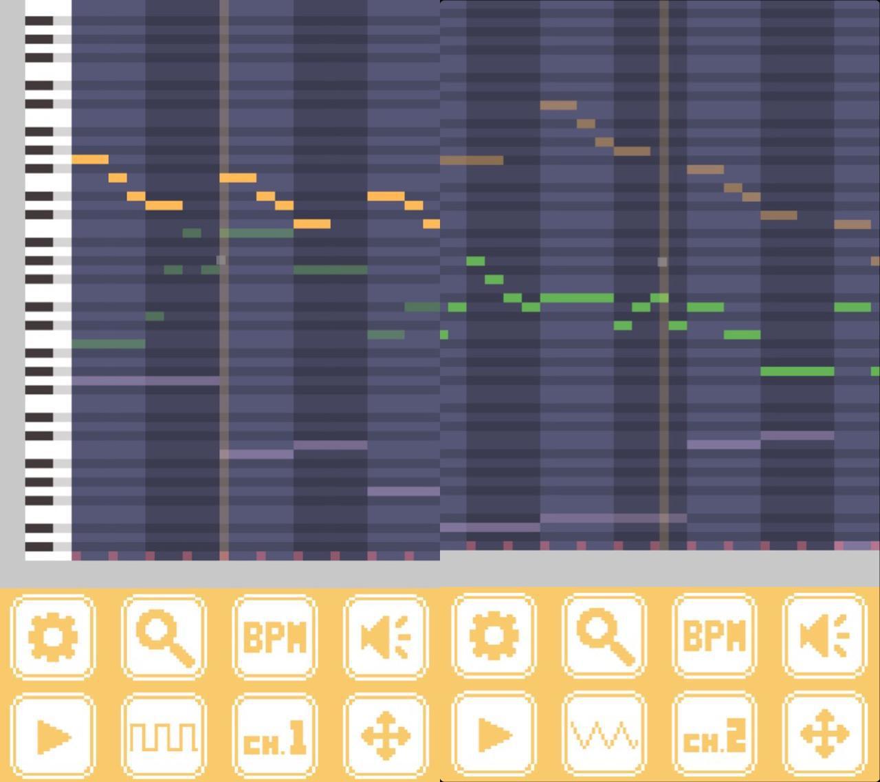画像: 簡単な曲を作って打ち込んでみました。4トラックでもなかなかの聞き応え!