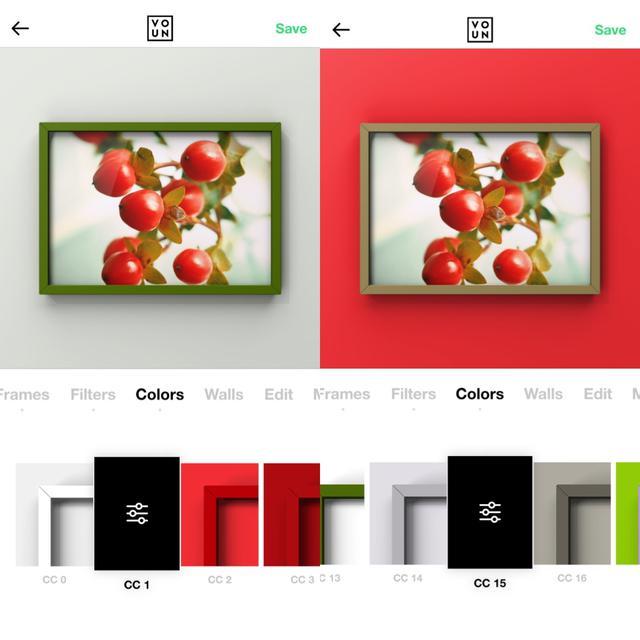 画像1: 背景は無地とコンクリ風などから。写真に合わせて色を自動設定しているものも。