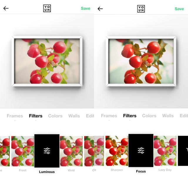 画像3: まずは写真を選んで額縁・フレームを設定。フィルターはケースバイケースで。
