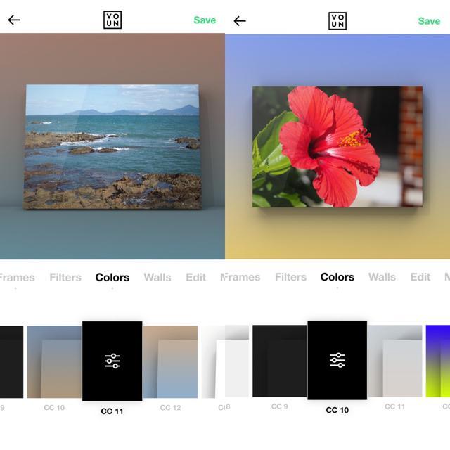 画像2: 背景は無地とコンクリ風などから。写真に合わせて色を自動設定しているものも。