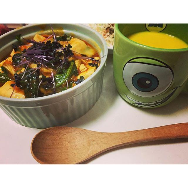 画像: 大好きなパンプキンスープと一緒に 最近、寒くなってきたので家で料理がブーム笑  #一人料理 #一人暮らし #料理 #レシピ #一人ご飯 #一人一人打ってたら #切なくなった #笑 #ディズニー www.instagram.com