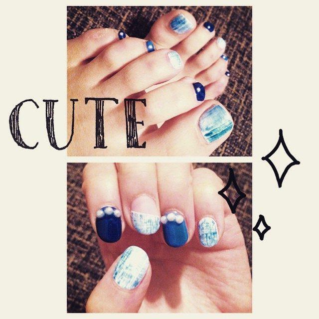 画像: 春だしデニムネイル♡ #new #nail #denim #デニムネイル