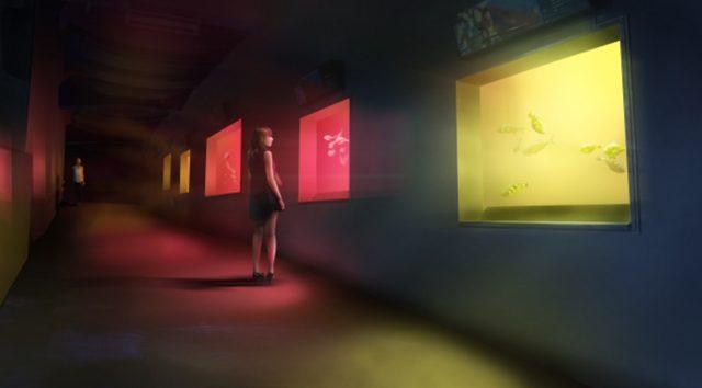 画像: 呼応する小さな海 / Small Resonating Sea チームラボ, 2015, インタラクティブデジタルインスタレーション, 音楽:高橋英明 人が水槽のガラス面に近づくと、水槽の光の色を変化させ、色特有の音色を響かせる。そして、その近くの水槽も呼応し、同じ光のに変化し音色を響かせる。そして次々にまわりの水槽に連続していく。 www.team-lab.net
