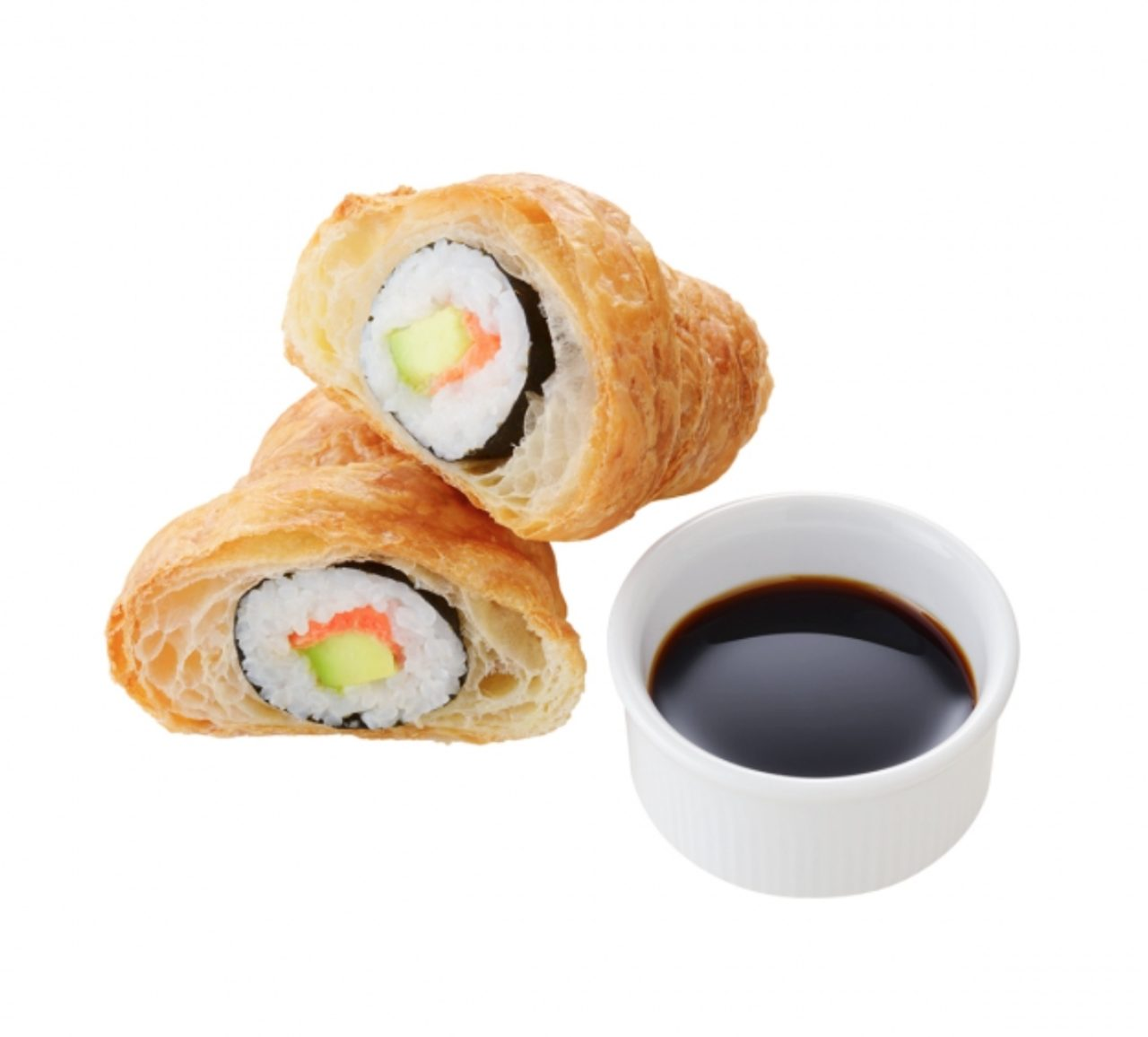 画像: ●カリフォルニア クロワッサン… 『クロワッサン』と『寿司』を掛け合わせた商品として全米で注目を集めるハイブリットメニューが朝食フェスに登場!カリフォルニアロールをクロワッサン生地で巻き込み焼き上げられている。しょうゆを添えて提供。