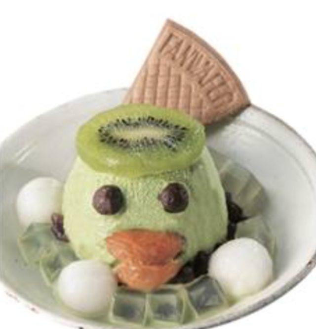 画像: 抹茶のアイスクリームにキウイのお皿を載せてかわいいカッパに。 <茶寮 銀座清月堂>カッパぜんざい 972円/中2階