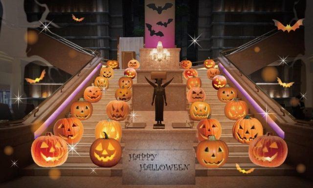 画像: 専属アートデコレーターによるかぼちゃのオブジェが1階大階段に登場!2階エントランスにもハロウィンのデコレーションが施され、ロビーがハロウィン一色に染まります。フォトスポットにもおすすめです。 実施期間:  2015年10月16日(金)~10月31日(土) 実施場所:  1階ロビー、2階エントランス