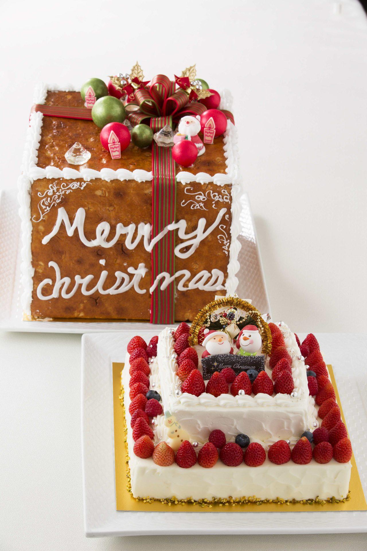 画像: クリスマス ギフト (限定 10 個) ¥30,000 ショートケーキ 22cm×22cm 高さ 8cm クッキーボックス 27cm×27cm 高さ 11cm 特別なクリスマスを彩るケーキをご用意いたしました。クッキー生地のプレゼントボックスから出てくるサプライズはお楽しみ。