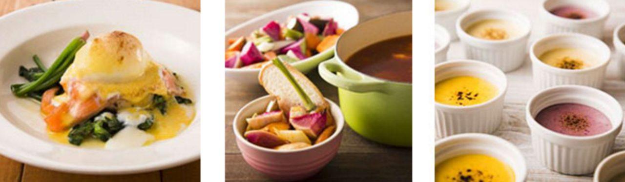 画像: (左から) スモークサーモンベネディクト / 食べるスープ 根菜のミネストローネ / 野菜クレームブリュレ