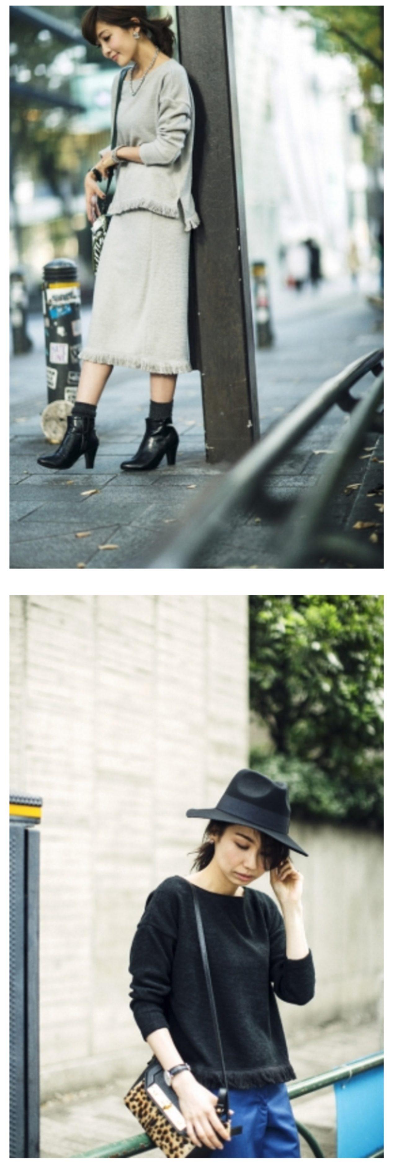 画像: Fringe Knit-sew Tops(Black/L.Grey/Off-White)3,900円(税別)とFringe Knit-sew Skirt(Black/L.Grey/Off-White)3,900円(税別)はトレンドを取り入れた、単品でもセットアップでも着られるアイテム。