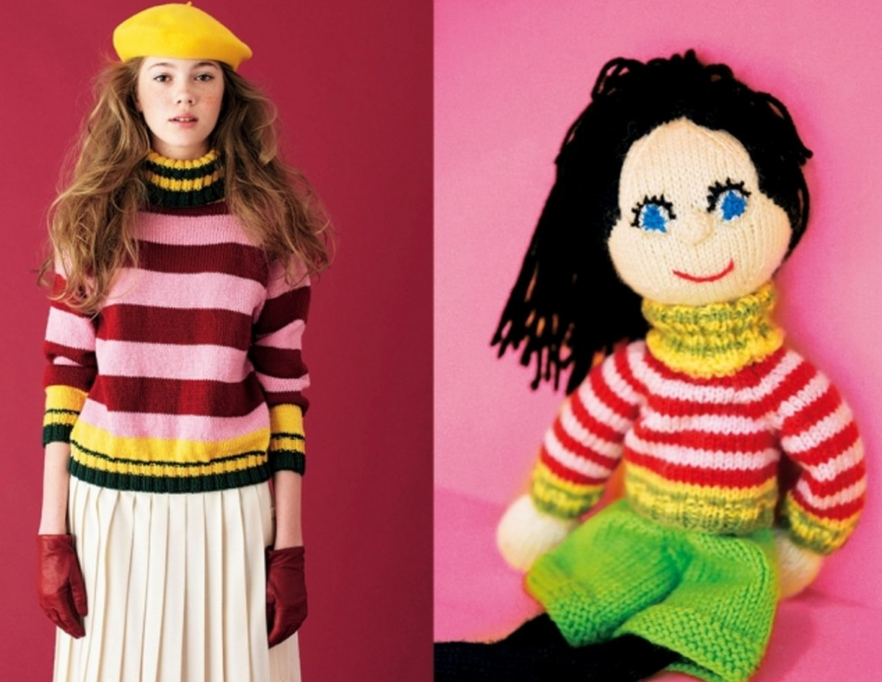 画像: 「ストライプ」 「パピータ(写真右)が来ているセーターの色は僕たちがパリで見つけた昆虫標本集にある昆虫の足の色なんだ(笑)。僕たちはセーターをデザインする時、まず人形用に作ってみることにしている。小さいから簡単に作れるし、無駄がない。今回、僕たちの人形用のセーターがこんなにかわいらしいセーターになった」