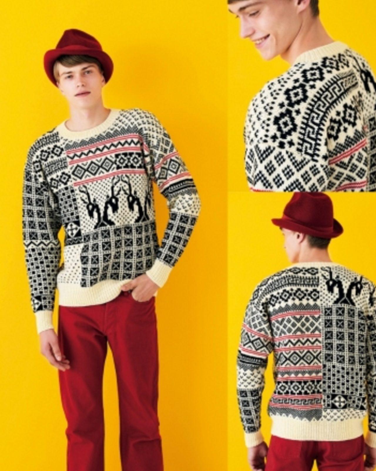 画像: 「パッチワーク」 誰にも着古したのに捨てられないセーターがあるんじゃないかな。ある時、僕たちはそれを四角く切って、何枚かをパッチワークのように縫い合わせて、セーターを作ってみた。それがあまりに素敵だったから、パッチワークセーターをデザインすることにしたんだ。左右非対称で面白いものが出来上がったよ