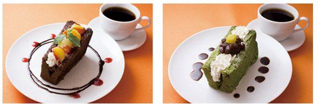 画像: 左:チョコシフォンケーキサンド ~フルーツミックス~ セット(コーヒーor紅茶付) 570円(税込) 単品  310円(税込) *チョコシフォンケーキにホイップクリームを絞り、桃・みかん・パインとラズベリーソースをトッピングしました。 右:抹茶シフォンケーキサンド ~粒あんと栗~ セット(コーヒーor紅茶付) 570円(税込) 単品  310円(税込) *抹茶シフォンケーキにホイップクリームを絞り、上品な甘さの粒あんと栗の甘露煮をトッピング。黒みつをお皿にデコレーションした和風仕立ての一品です。