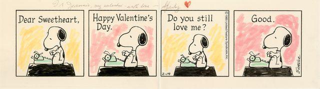 画像: <世界初公開の「ピーナッツ」原画 1985年2月14日 シュルツ氏がバレンタインデーに夫人に贈った原画>