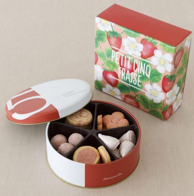 画像: ■商品名:プチサンク フレーズ ■価格:2,052円(税込) ■販売開始:2月15日(月) ■商品説明:人気のプチサンクの春限定の苺バージョン。甘酸っぱくフルーティーな味わいがたっぷり愉しめる、アソートクッキーです。 ・苺とココナッツのロッシェ ・苺のスノーシュクレ ・フラワークッキー ストロベリー ・ストロベリーマーブルクッキー ・苺ミルクサブレ