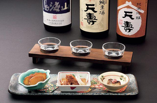画像: 「地酒Bar」3種呑み比べ+3種酒の肴セット 1,201円(税込)
