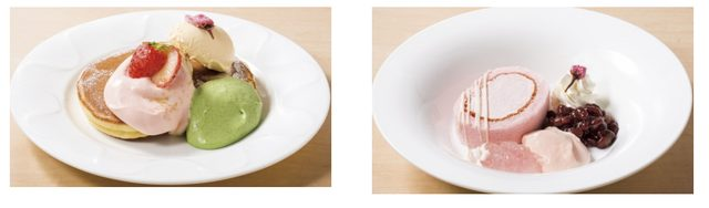 画像: 左 : 桜のパンケーキ       510円(税込550円) 右 : 桜のロールケーキ       499円(税込538円)