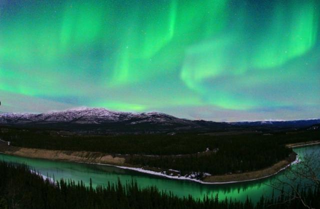 画像: Canada.ホワイトホースにて深夜2時。ユーコン川の上に大きなオーロラが。静止した川面に反射した光が揺れていた。