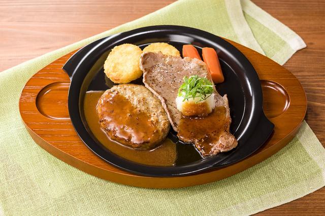 画像: 薄切りサーロイングリル(大葉おろし醤油ソース)&ハンバーグ 999円