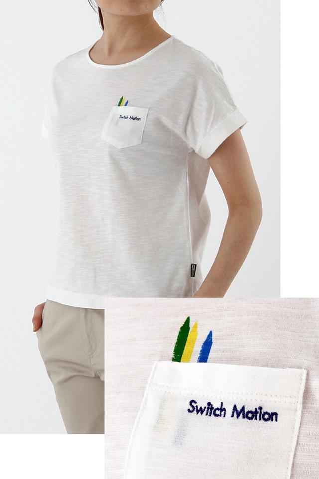 画像: <スウィッチモーション>レディス 商品名  :クーピーポケットTシャツ カラー  :アイボリー、ライトグレー サイズ  :M-LL 価格(税抜):4,800円 発売日  :4月11日(月) 商品名  :クーピーラインボーダーTシャツ カラー  :アイボリー、ネイビーブルー サイズ  :M-LL 価格(税抜):4,500円 発売日  :4月11日(月)
