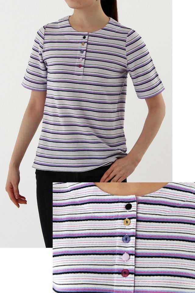 画像: <クロコダイルレディス>レディス 商品名  :クーピーボーダーヘンリーTシャツ カラー  :ホワイト、ベージュ サイズ  :M-LL 価格(税抜):5,000円 発売日  :4月11日(月) 商品名  :クーピー裾ラインTシャツ カラー  :ホワイト、ネイビーブルー サイズ  :M-LL 価格(税抜):5,000円 発売日  :4月11日(月)