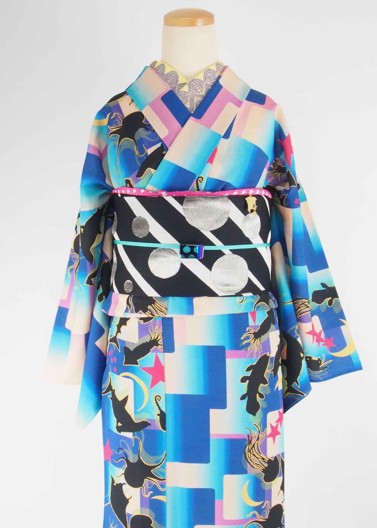 画像: セオ・アルファプレタ浴衣「夜の水族館」 ¥40,000(税抜)