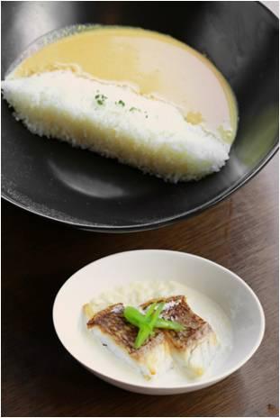 画像: 真鯛フリカッセダムカレー(愛媛県大久保山ダム) 堤高が高いアースダムである、愛媛の大久保山ダムをイメージした台形のご飯に銀座プラチナカレーを注ぎました。サイドメニューには、愛媛県が日本一の生産を誇る「真鯛」をクリームで煮た、フランスの家庭料理「フリカッセ」をご用意いたしました。 《食材》 愛媛県産の真鯛