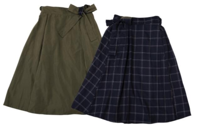 画像: ■リバーシブル巻きスカート カラー:カーキ×ウィンドウペンチェック サイズ:M・L 価格:1,900円