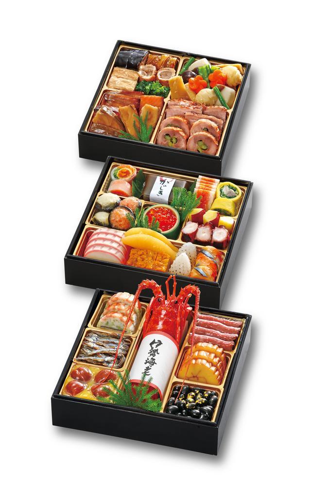 画像: 「純和風おせち 花琴」(冷凍) 27,000円(消費税・送料込) 伝統のおせちを堪能できる純和風おせち。 日本の伝統料理に加え、子どもや女性に人気の洋風料理とデザートを盛り込みました。洋風にまとめた参の重は、年越しパーティーにオードブルとしてもお楽しみいただけます。