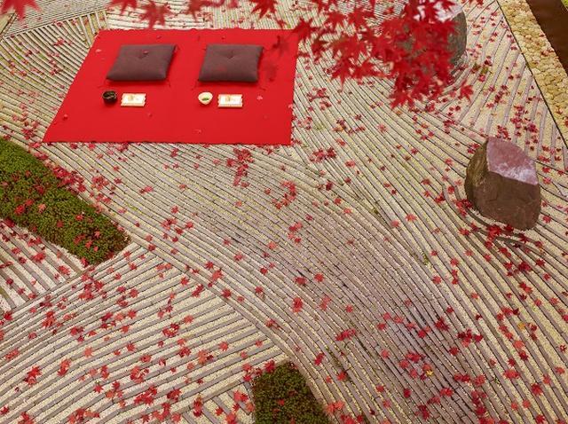 画像: ヘリクルーズの後は、星のや京都内にある、川の流れを表現した「奥の庭」にて、お抹茶を飲みながら紅葉をお愉しみいただけます。