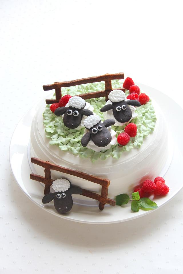 画像: ショーンファームフルーツショートケーキ 牧場のショーンをイメージしたフルーツショートケーキ 単品:680円 ドリンク付:1,080円