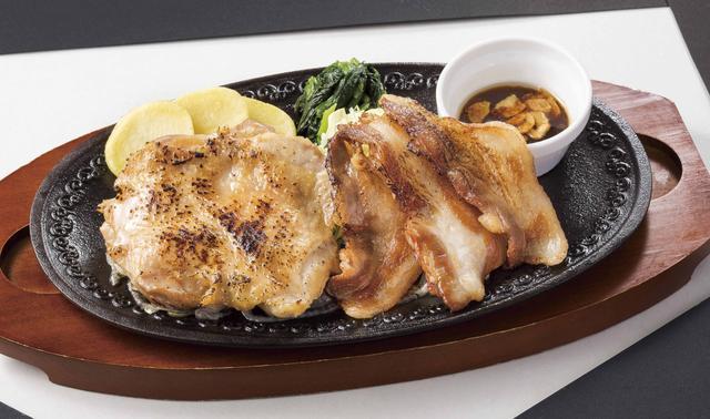 画像: ■炙りチキン&あぐー豚のグリル※ 1,249円(税込1,348円) 肉厚ながらもふっくらと柔らかなブラジル産鶏モモ肉のグリルを直火で炙り、香ばしさをプラスした「炙りチキン」と、オレイン酸を多く含み、脂身の甘さと口どけの良さが特徴の「美ら島あぐー豚」を一緒に楽しめる一品です。