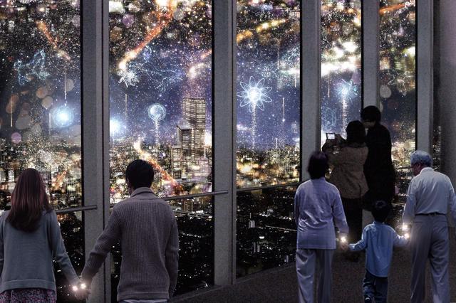 画像: 3.星空の都市 きらめく街を流星とともに駆けていくと、目の前に広がる大阪の街の光が星空となり夜景と星空が交錯した幻想的な空間「星空の都市」に辿り着きます。夜景の都市と夜空の都市に星や雪をモチーフとした大輪の花火が打ち上がります。