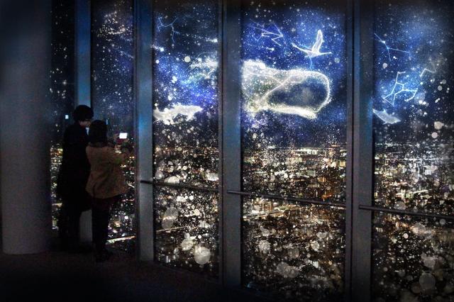 画像: 2.旅の始まり 星座の動物達との星空の旅を描きます。星屑で描かれた星座の動物たちが夜空に輝きを放ち、幻想的な星の世界へと誘う、旅の始まりです。