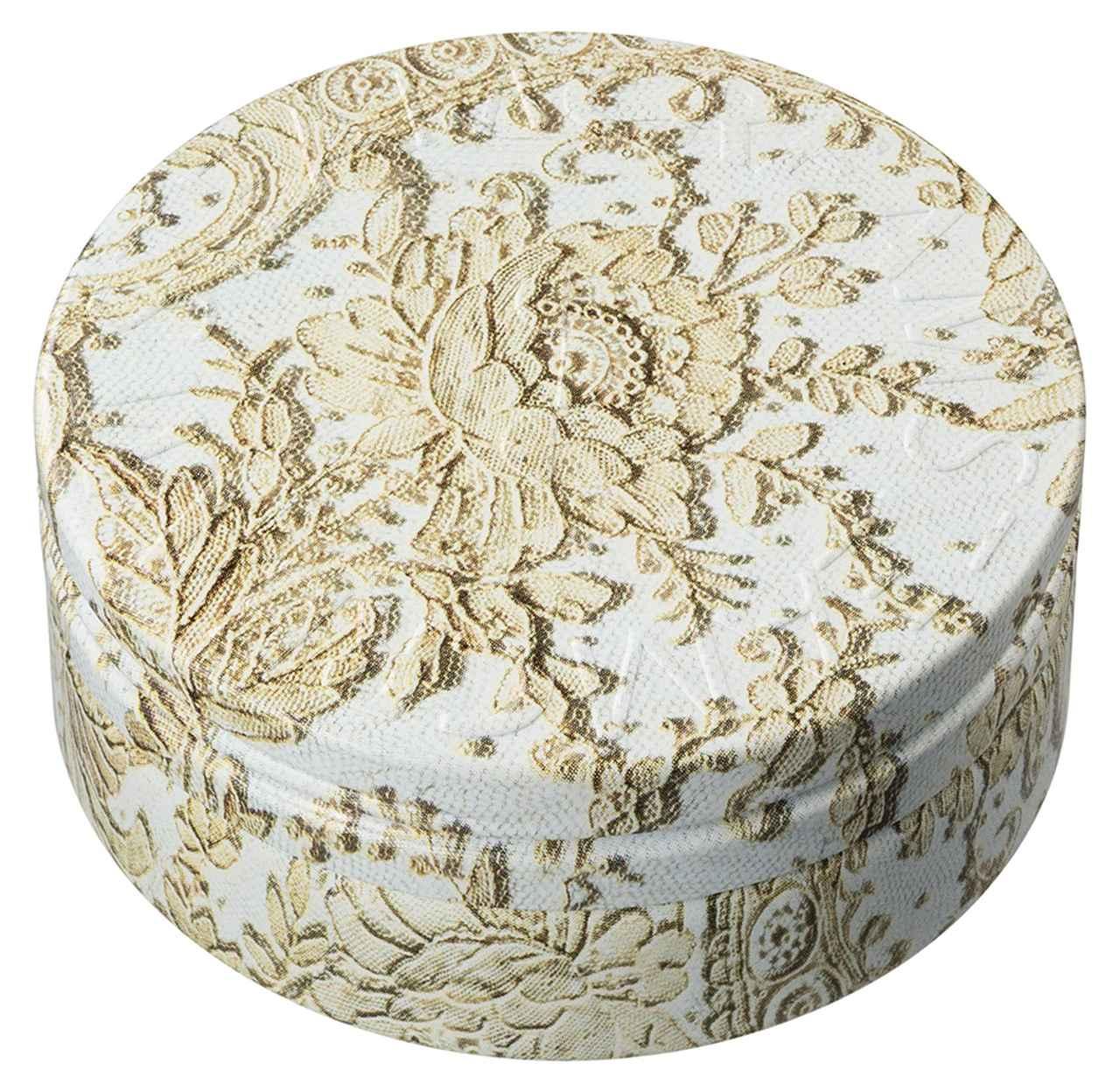 画像: ~デザインストーリー~ 19世紀中頃に織られたバラの花が印象的なアンティークレース「ポワン・ド・ローズ」で、缶全体をやさしく包み込んだようなデザインに仕上げました。繊細で美しく、上品なレースが、優雅な気持ちにしてくれます。