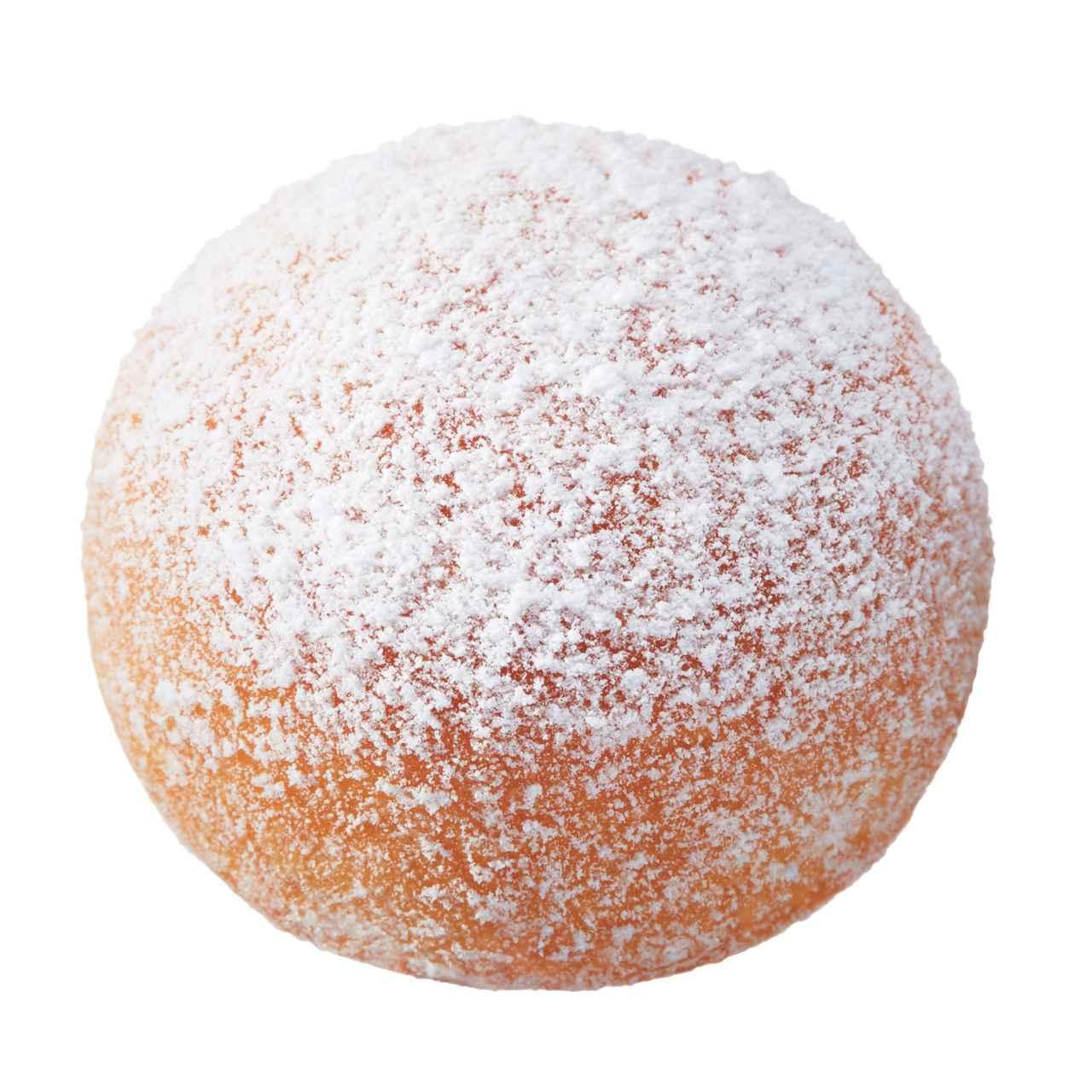 画像: ●エンゼルクリームボール(継続販売) ふんわりとしたイースト生地のドーナツに、ホイップクリームを詰め、シュガーをまぶしました。