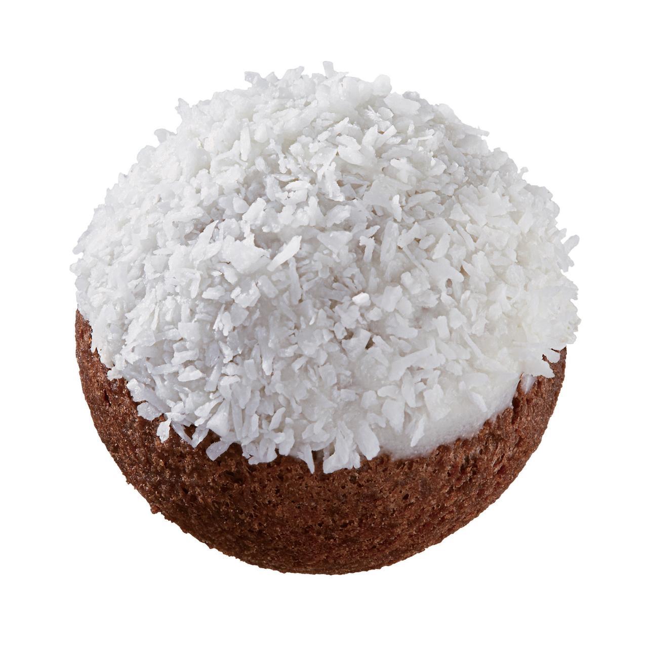 画像: ●ホワイトココナツチョコレートボール(限定フレーバー) ミルクチョコレート風味の生地をホワイトチョコでコーティングし、ココナツをトッピングしました。