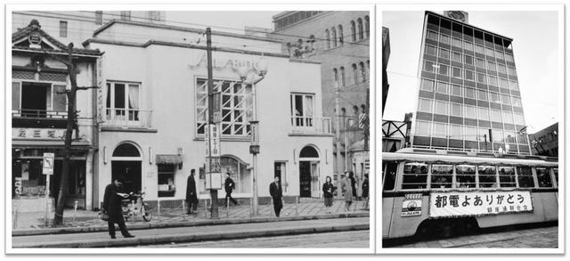 """画像: 写真左:資生堂パーラー前の""""銀座7丁目停留場""""(1957年頃)/写真右:1967年都電1系統最後の日(旧資生堂パーラー前にて) 銀座中央通り(日本橋~銀座~新橋間)は都電が最も多く走り抜けたストリートのひとつでした。 都電7000形が走っていた当時、資生堂パーラーには桃、ヨーグルト、カシスなど様々なババロアメニューがあり、人気は苺だったそうです。形もドームやドーナッツ型などで仕立てられていました。"""